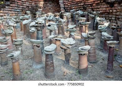 The display of Sangkhalok, Sawankhalok kiln Sukhothai ceramics at Ramkamhaeng National Museum, Sukhothai, Thailand, December 2017
