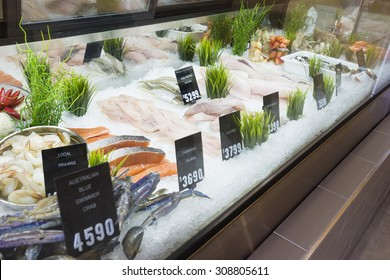 Display of seafood with price tags in a shop in Melbourne, Australia