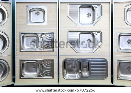 Display Stainless Steel Kitchen Sinks Samples Stock Photo (Edit Now ...