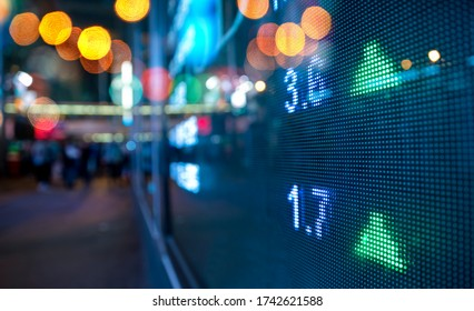 Display stock market numbers with defocused lights background