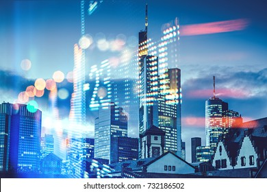 Display stock market numbers and Frankfurt background