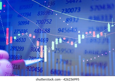 Display of Stock market quotes. Stock market chart. Business graph background. Forex trading. Candle stick graph chart of stock market investment trading.