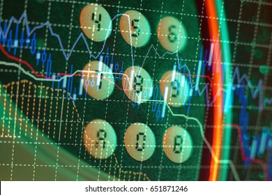 Display of Stock market quotes. Stock market chart. Business graph background. Forex trading