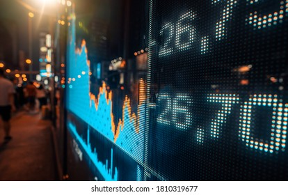 Display of Stock market quotes with city lights reflect on glass - Shutterstock ID 1810319677
