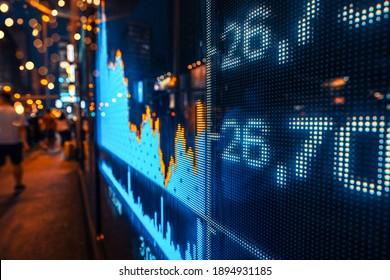 Anzeige von Börsenkursen mit Stadtlampen reflektieren auf Glas, Bildschirmanzeige auf der Straße