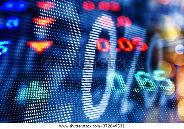 Display of Stock market quotes, double exposure