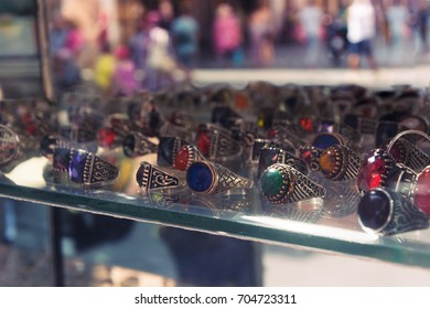 display stones rings on defocused background