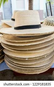 Display of straw hats for sale in Cienfuegos Cuba - Street market - Handcraft
