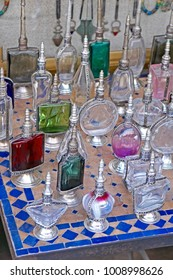 A display of traditioal Scent Bottles In the Souk the Street Market at Jemaa el Fnaa in the Medina Old City in the centre of Marrakech in Morocco. The Souk is enjoyed by visitors and tourists.