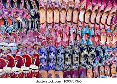 Display of traditional slippers at the market, Jaipur, India