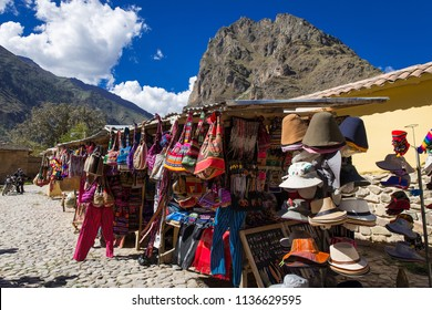 Display of Traditional Souvenirs at the Market in Ollantaytambo in Urubamba Valley (the Sacred Valley) near Cuzco and Machu Picchu in Peru, South America