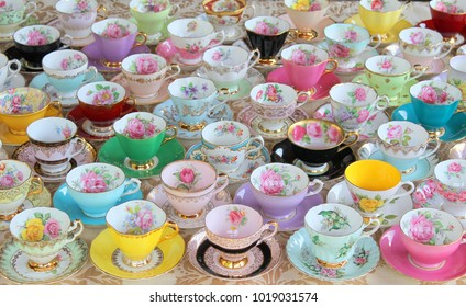 Display of vintage teacups tea cups and saucers - floral pastel - high tea party