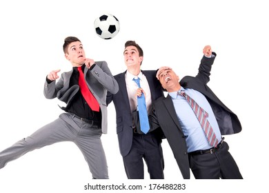 Displeased businessman paying a lost bet to a happy rival over a football game