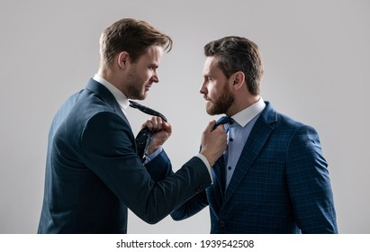 displeased colleague dispute. negotiations. businessmen talking and discussing conflict. boss and employee. disagreed men partners. business competition. businessmeeting. struggle for leadership.