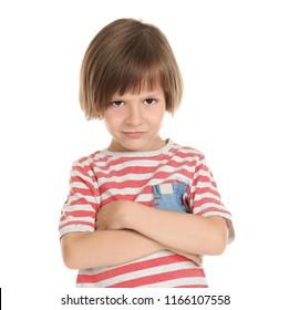 Displeased little boy on white background