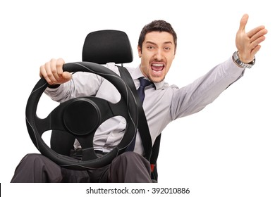 Displeased young man driving and arguing with someone isolated on white background