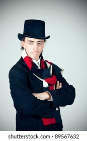 displeased young man in top hat