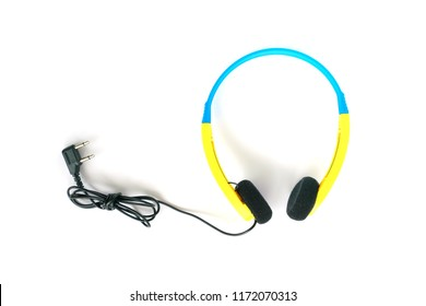 Disposable airline headrphones with dual socket connector ,isolated on white background