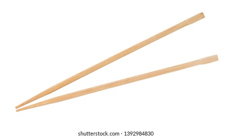 disposable beech wooden chopsticks isolated on white background