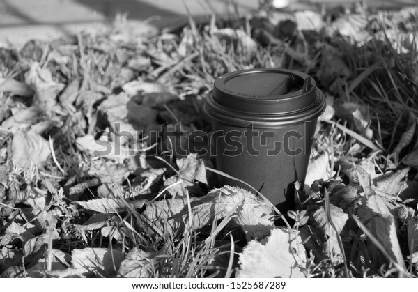 Disposable black paper Cup of coffee in autumn leaves and grass, black and white image