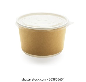 Disposable Brown Paper Bowl With Plastic Lid on White Background