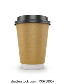 A disposable cup of coffee or tea on a white background. Paper cup for drinks. 3D illustration