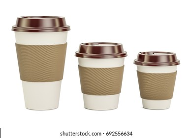 Disposable Cups Set, 3D rendering isolated on white background