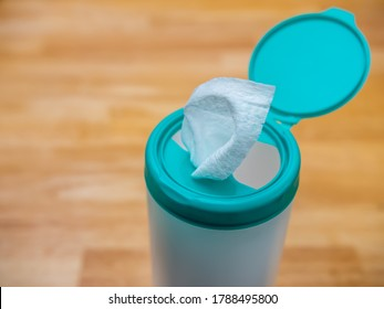 Disposable hand sanitizer disinfectant wipes. Anti bacterial cleaning wipes used for preventing the spread of the Coronavirus during the COVID-19 pandemic.