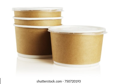 Disposable Paper Bowls on White Background