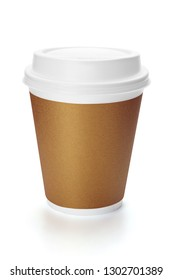 Disposable paper coffee cup with plastic lid, isolated on the white background, clipping path included.