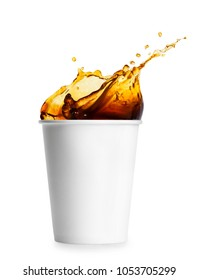 disposable paper cup with coffee splash isolated on white background