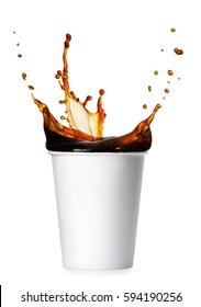 disposable paper cup with splash of coffee isolated on white background