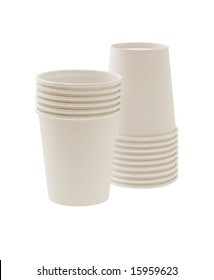 Disposable paper cups on white background