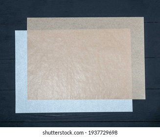 Disposable paper  napkin, tablecloth for takeaway food, still life and mock up on wooden background. Environmentally friendly than single-use plastic bags