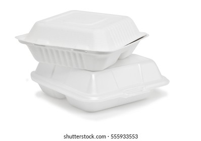 Disposable paperboard and polyurethane containers with shadow on white background