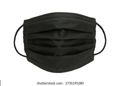Disposable Safety black mask Industrial , dust protection, disinfection,health disease, cough breath protective mask isolated on white background