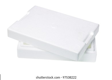 Disposable Styrofoam Packing Box on White Background