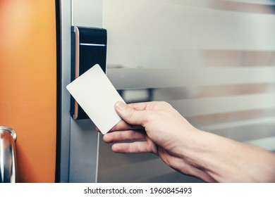Disposal doors using an electronic key card. Security system in an office building.