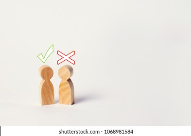 a dispute between people, tension, misunderstanding, family psychology. consent and disagreement