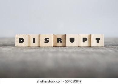 DISRUPT word made with building blocks