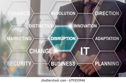 Disruption Cloud Tag Business concept. Man presses button disruption word button on virtual screen.