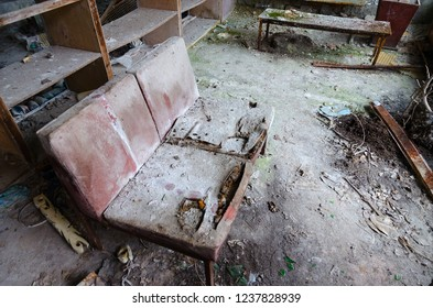 Disruption in hall of hospital No. 126, abandoned ghost town of Pripyat in Chernobyl NPP alienation zone, Ukraine