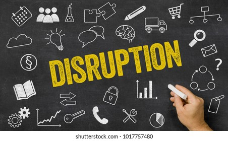 Disruption written on a blackboard with icons