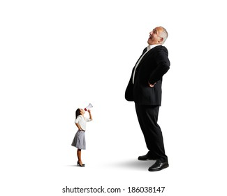 dissatisfied businesswoman screaming at big laughing businessman. isolated on white background