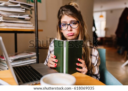 37f80ed042 Dissatisfied Upset Girl Student Reading Book Stock Photo (Edit Now ...