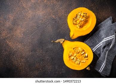 Dissected raw fresh hokkaido pumpkin with seeds