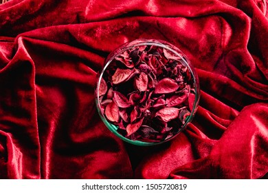 dissected rose petals on red velvet