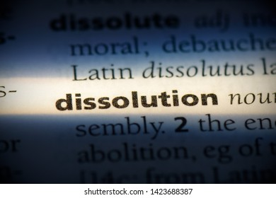 dissolution word in a dictionary. dissolution concept.
