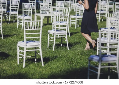 Distance between chairs at a garden event for social distancing during the Covid-19 outbreak.