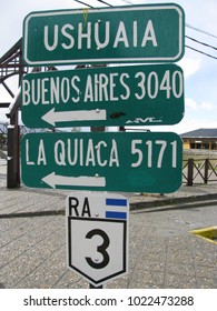 Distance indicator between Ushuaia and Buenos Aires, Ushuaia and La Quiaca, Road 3, Land of Fire, Argentina